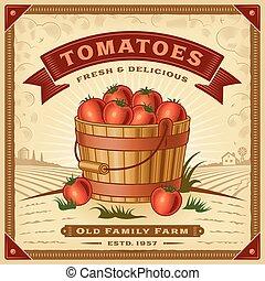 トマト, 収穫, レトロ, 風景, ラベル