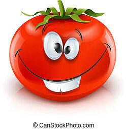 トマト, 微笑, 赤, 熟した