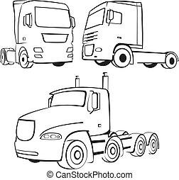 トラック, アイコン, 貨物自動車, -