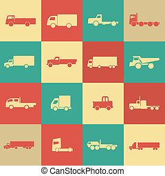 トラック, レトロ, 輸送, アイコン