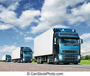 トラック, 交通機関, 護送, ハイウェー, 貨物, 概念