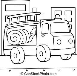 トラック, 火, 着色, ページ