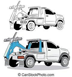 トラック, 牽引, 図画