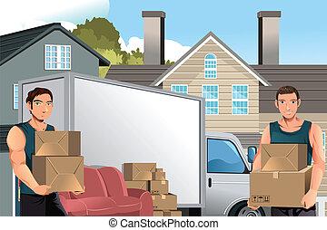 トラック, 箱, 男性, 引っ越し