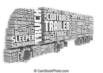 トラック, 言葉, 前部, 3d, 形づくること, トレーラー, 光景