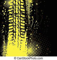 トラック, 黄色の背景, タイヤ