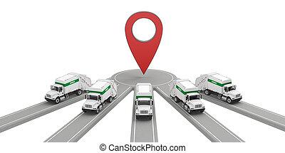 トラック, 1(人・つ), ポイント, ごみ, グループ, 地図