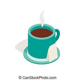 トルコ石, 等大, カップ, お茶, スタイル, アイコン, 3d