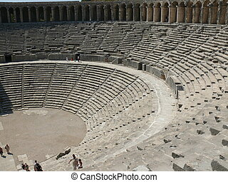 トルコ, 古い, -, 円形劇場, ギリシャ語, aspendos