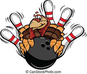 トルコ, 感謝祭, イラスト, ベクトル, ボウリング, 休日, 漫画