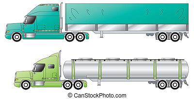 トレーラー, アメリカ人, 従来である, トラック, &