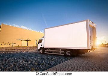 トレーラー, 貨物, ブランク, 白, トラック, 出産, parking., コマーシャル