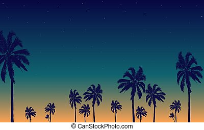 トロピカル, やし, 背景, 夜, 木