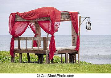 トロピカル, カラフルである, アーチ, 赤い木質, 浜, パビリオン, バリ, 織物, インドネシア, 作られた, gazebo