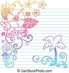 トロピカル, ハイビスカス, hand-drawn, 花