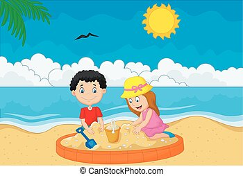 トロピカル, 砂ビーチ, 遊び, 子供