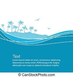 トロピカル, 青い背景, 海, 波, island., ベクトル