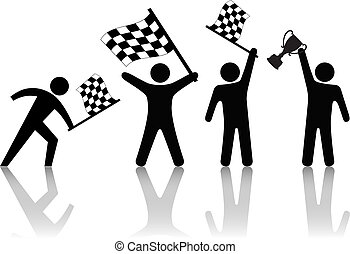 トロフィー, checkered, 人々, シンボル, 波, 旗, 勝利, 把握