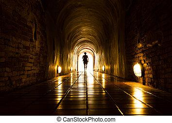 トンネル, ライト, 端, 人間