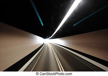 トンネル, 動き, blured, ハイウェー