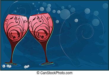 トースト, ガラス, ワイン