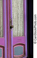 ドア, 紫色, カーテン, 明るい