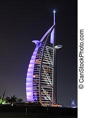 ドバイ, 照らされた, ホテル, al, burj, アラビア人, 夜