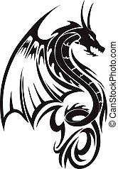 ドラゴン, 型, 飛行, 入れ墨, engraving.