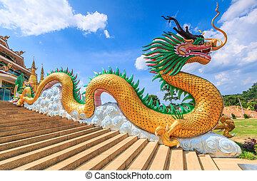 ドラゴン, 背景, 隔離しなさい, 金, 中国語, 巨人