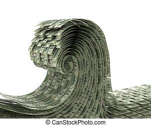 ドル。, お金, イラスト, 波, バックグラウンド。, 白, 3d