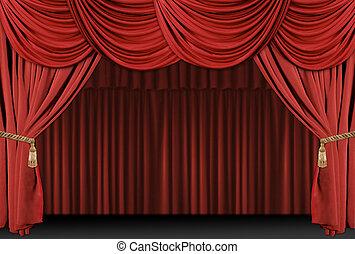 ドレープ, 劇場, 背景, ステージ