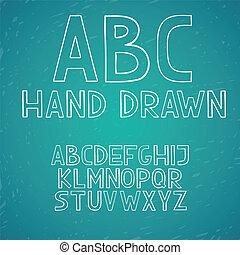 ドロー, abc, 手紙, アルファベット, 手, ベクトル, いたずら書き