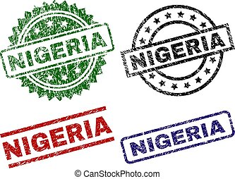 ナイジェリア, 切手, シール, textured, 傷付けられる