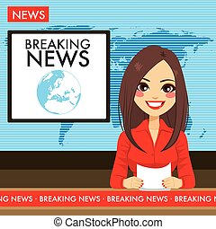 ニュースキャスター, tv, 女, 若い