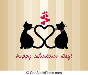 ネコ, 愛, カード, バレンタイン