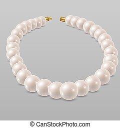 ネックレス, 真珠, 白