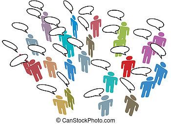 ネットワーク, カラフルである, 人々, 媒体, スピーチ, 社会, ミーティング
