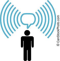 ネットワーク, シンボル, wifi, 無線, 話, 人