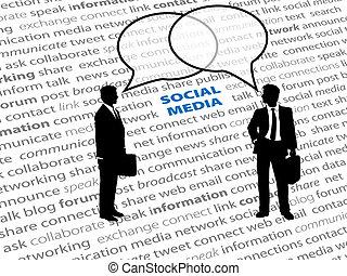 ネットワーク, ビジネス 人々, テキスト, 社会, 泡, 話