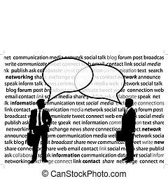 ネットワーク, ビジネス 人々, 分け前, 社会, 泡, 話