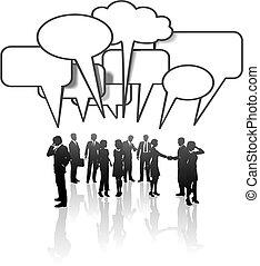 ネットワーク, ビジネス 人々, 媒体, コミュニケーション, チーム 話