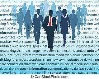 ネットワーク, ビジネス 人々, 媒体, 社会, 概念