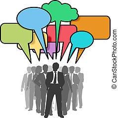 ネットワーク, ビジネス 人々, 泡, カラフルである, 話