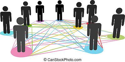 ネットワーク, ビジネス 人々, 色, 接続, 社会