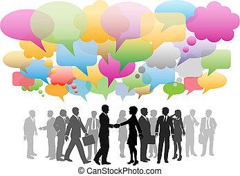 ネットワーク, ビジネス, 媒体, 会社, スピーチ, 社会, 泡