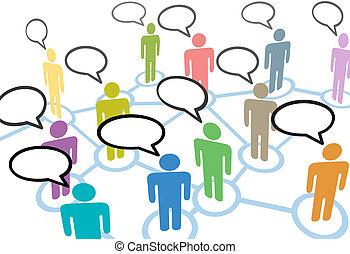 ネットワーク, 人々, コミュニケーション, 接続, スピーチ, 社会, 話