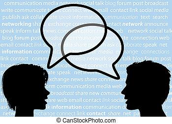 ネットワーク, 人々, 分け前, スピーチ, 社会, 泡, 話