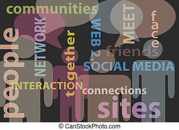 ネットワーク, 人々, 媒体, コミュニケーション, スピーチ, 社会