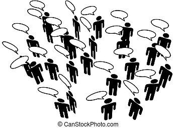 ネットワーク, 人々, 媒体, コミュニケートしなさい, スピーチ, 連結しなさい, 社会