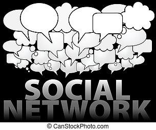 ネットワーク, 媒体, スピーチ, 社会, 泡, 雲